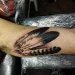 Three Feathers Tattoo by peypey_tattoo