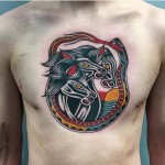 Three Horses Tattoo on Chest