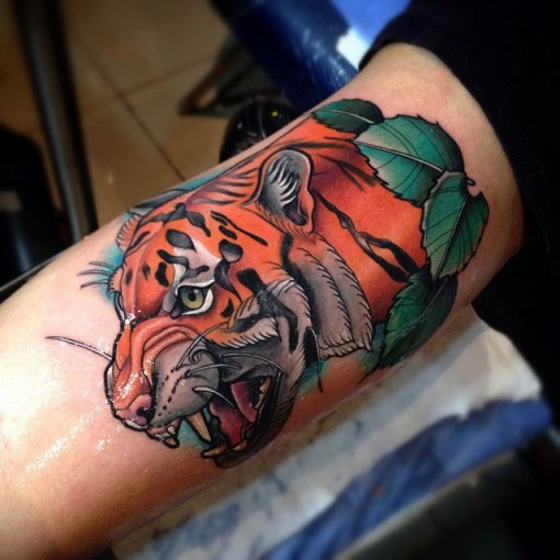 Tiger Arm Tattoo by tattoosbysantiago2
