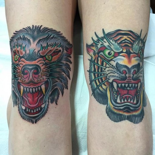 Tiger Knee Tattoo
