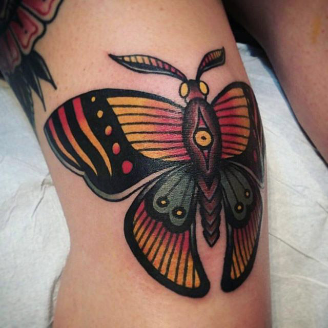 Traditional Butterfly Knee Tattoo
