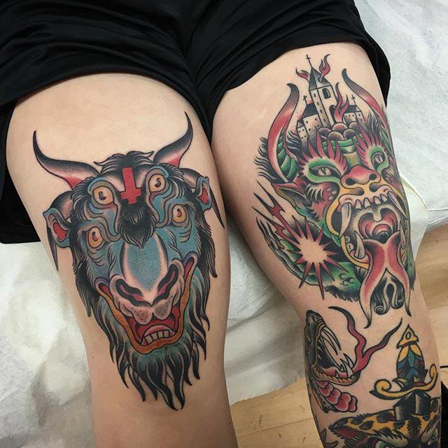 Traditional Knee Tattoos by Carlos Ulmanis