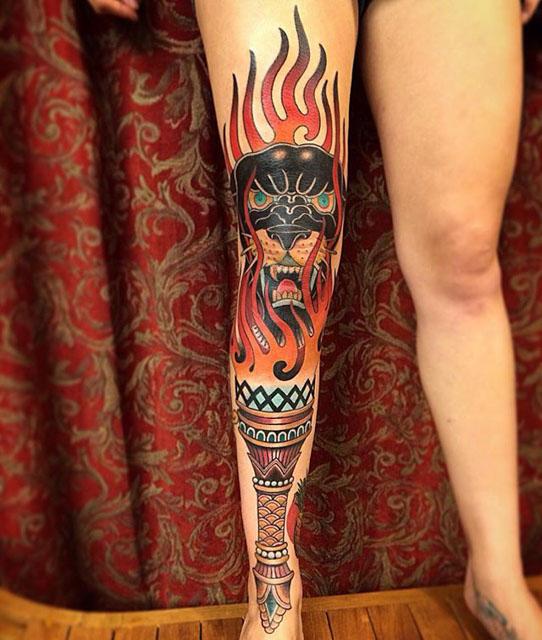 Traditional Leg Tattoos by Chuck Gordon2