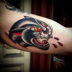 Traditional Panther Tattoo by redhouseirons