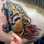 Traditional Tiger Head Tattoo