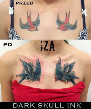 Two Birds Tattoo Cover Up