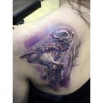 Violet Owl Tattoo on Shoulder Blade