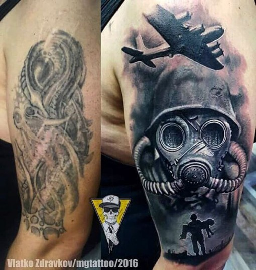 War Tattoo Shoulder Cover Up
