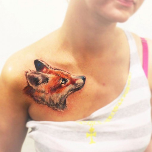 red fox tattoo on chest