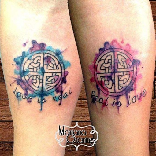 Watercolor Love Symbol Tattoo
