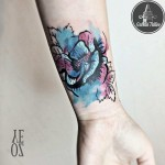 wrist tattoo watercolor flower