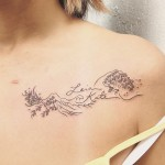 Waves Collar Bone Tattoo