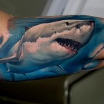White Shark Tattoo by victor_chil