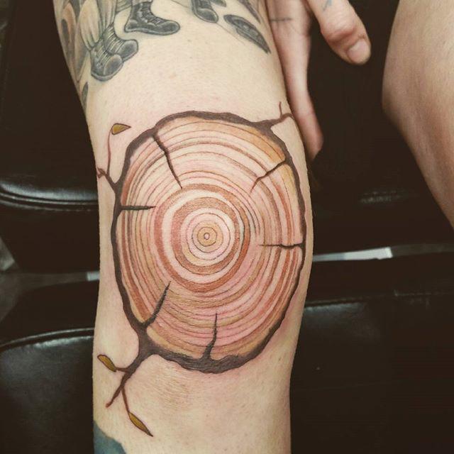 Wood Cut Knee Tattoo