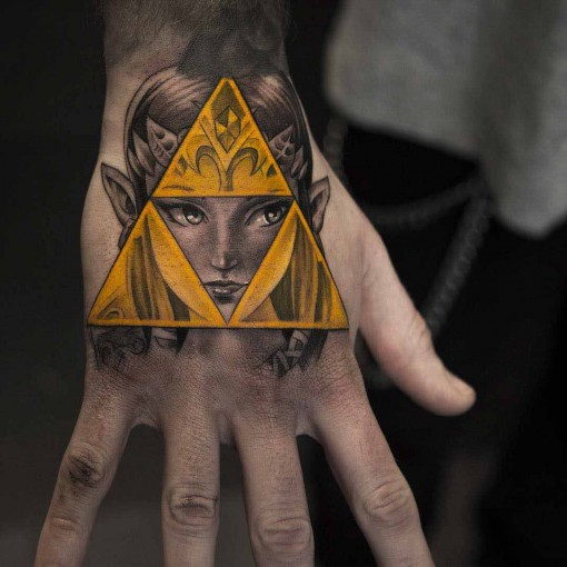 hand tattoo inspired by The Legend of Zelda