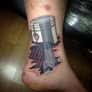 3D Piston Tattoo