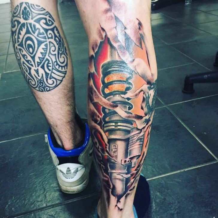 3D Piston Tattoo on Calf by gary_david_mills