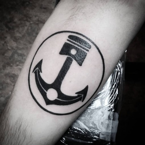 Anchor Piston Tattoo by _davegee