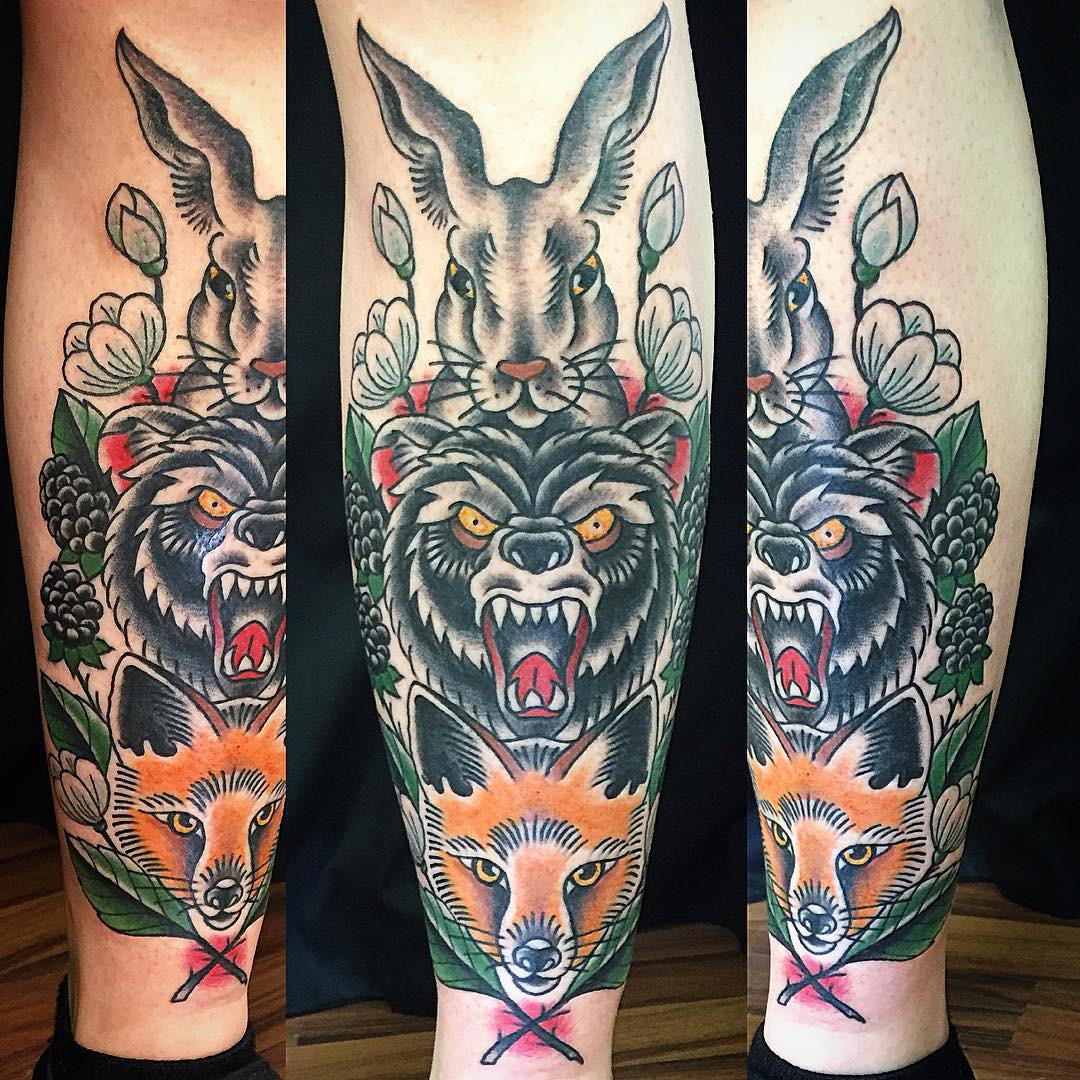 Animalistic Shin Tattoo by followtheserpent