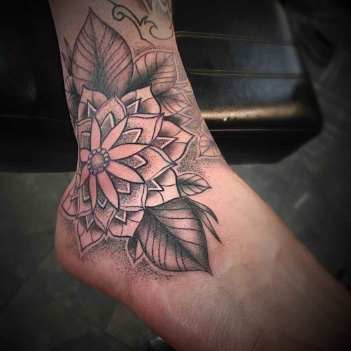 Ankle Flower Tattoo by joseph_pittius