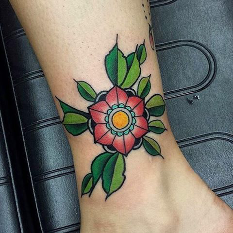 Ankle Rose Tattoo