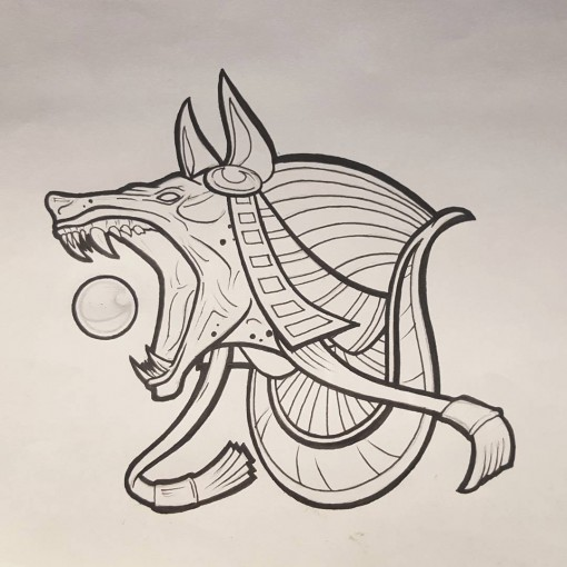 Anubis Tattoo Design by chrisinktattoo
