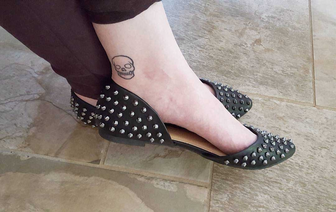 Back Ankle Skull Tattoo