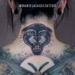 Back Neck Tattoo Panther