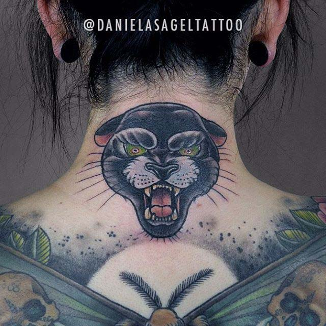panther tattoo on back of the neck