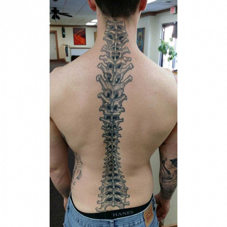 Back Spine Tattoo by nathanbauerart