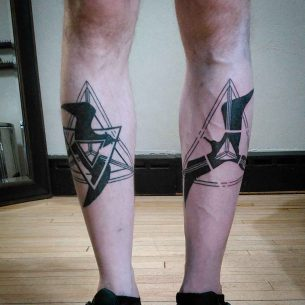 Black Birds Tattoos on Shins
