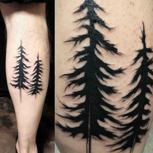 Blackwork Tree Tattoo