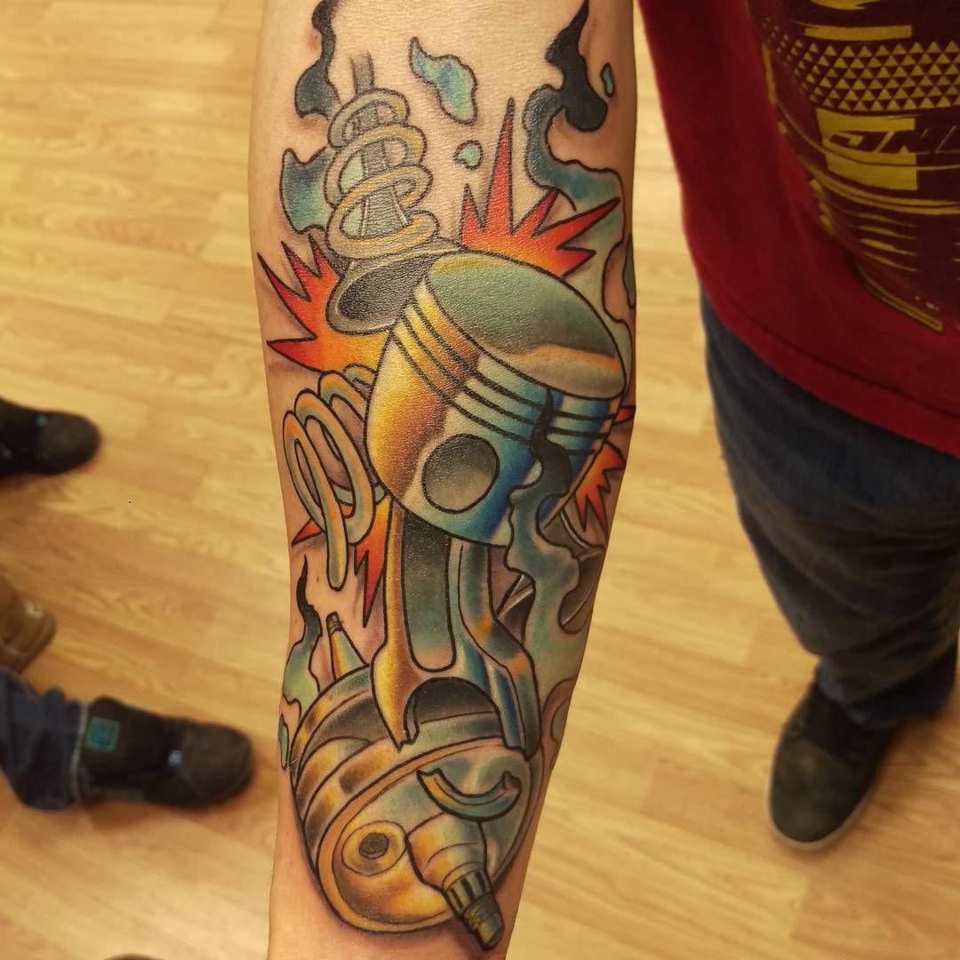 Broken Piston Tattoo by kevinneilsontattoo