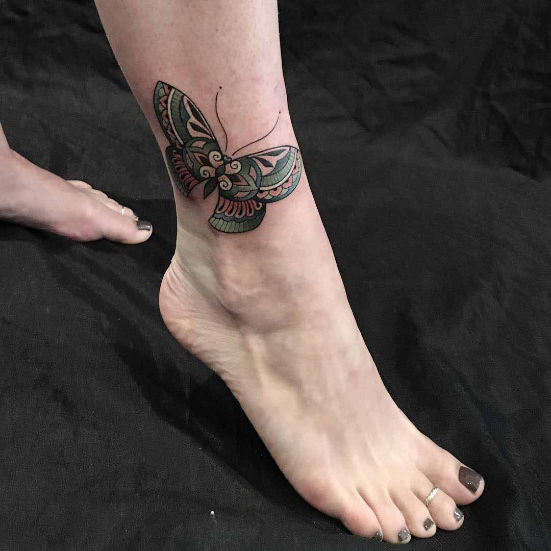 Butterfly Ankle Tattoo by @domholmestattoo