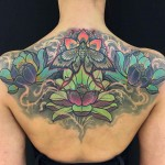 Butterfly and Lotus Flowers Tattoo