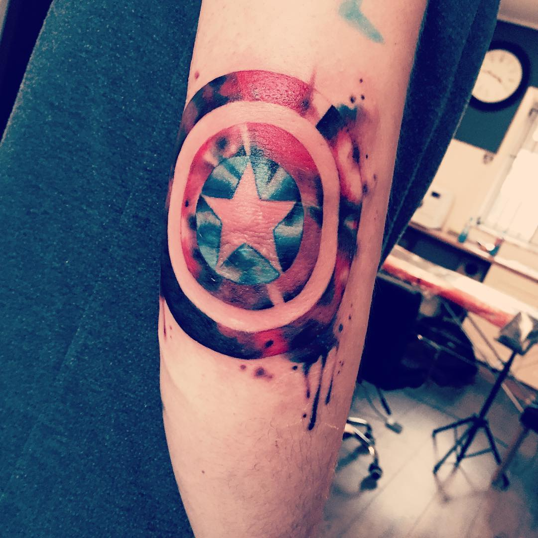 Captain America Shield Tattoo by oliviabtattoo