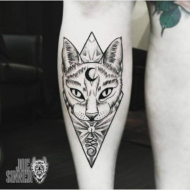 Cat and Moon Tattoo by @joesinnertattoos