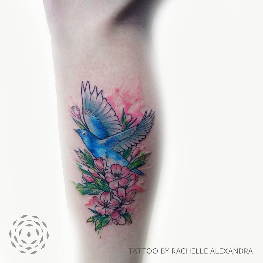 Cherry Blossom and Bird Tattoo by xandra.ink