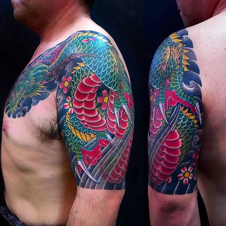 Chest Half Sleeve Tattoo Designs by kan_stroker