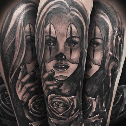 artwotk tattoo chicano clown girl