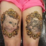 cats tattoos on thighs