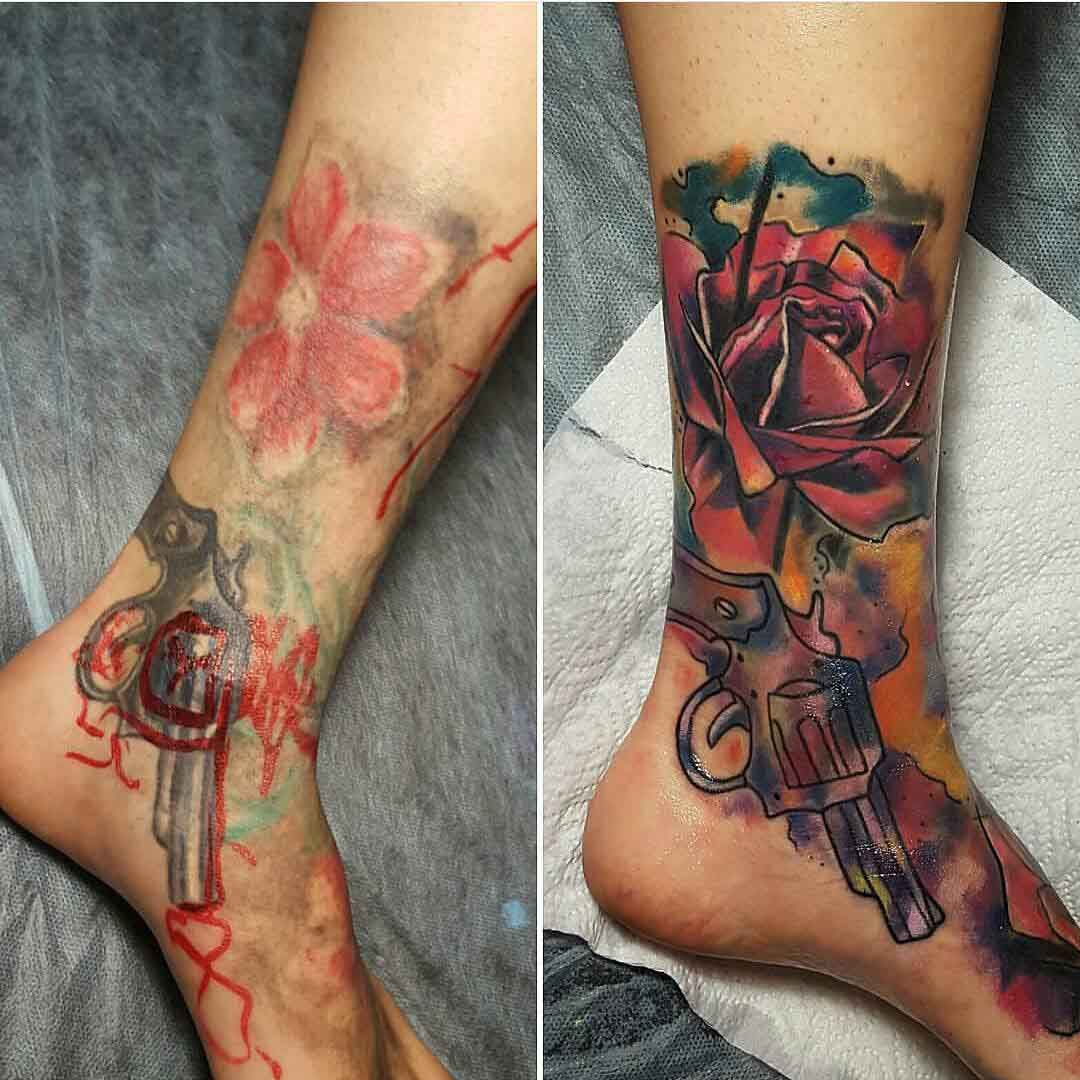 Cover Up Tattoo on Ankle by @tamirstattoo