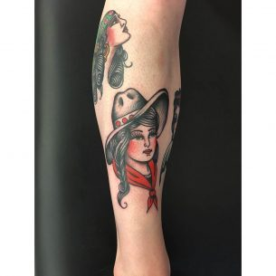 Cowgirl Shin Tattoo