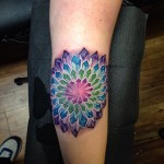 Crystal Flower Tattoo on Elbow