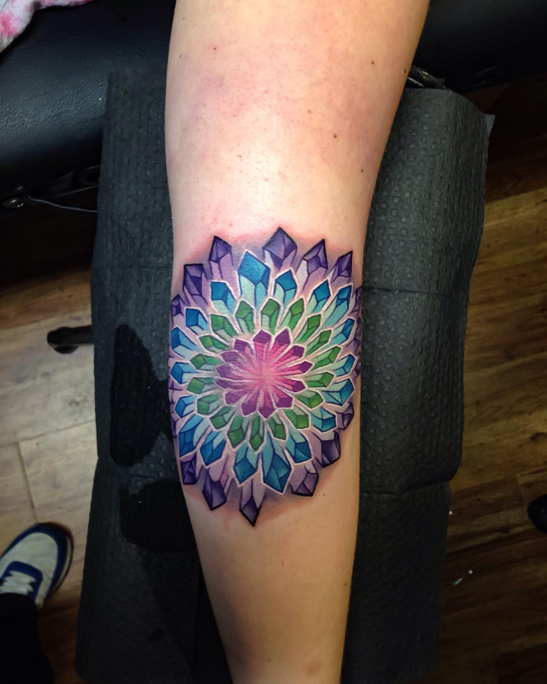 Crystal Flower Tattoo on Elbow by tattoosbyjake