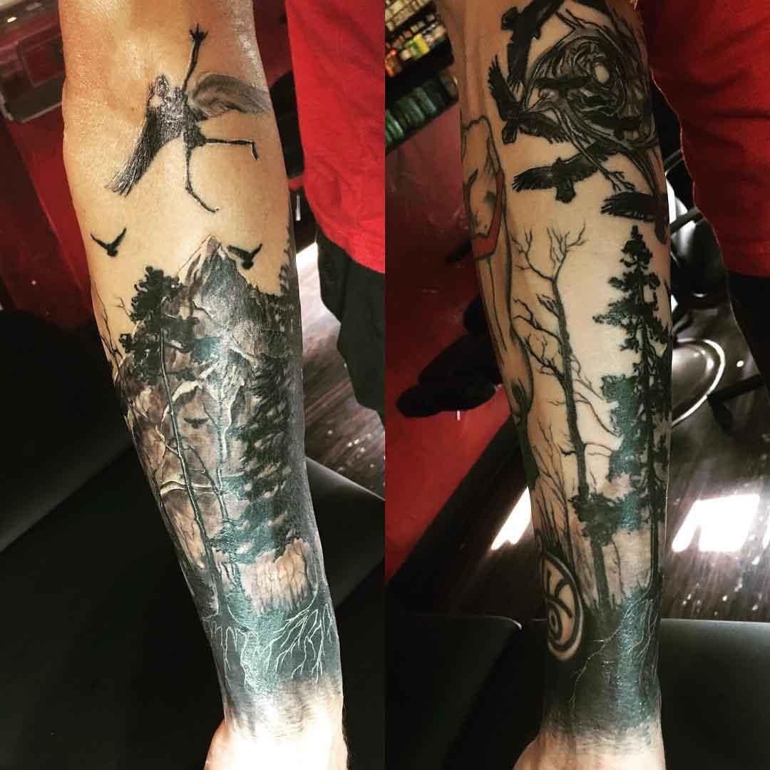 Dark Half Sleeve Tattoo Design by kayleathetattooedlady