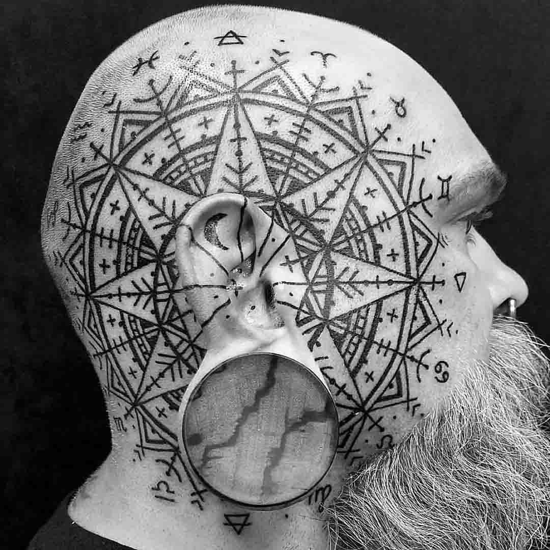 side head tattoo demonic