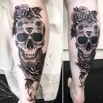 Dimond Skull Tattoo on Calf