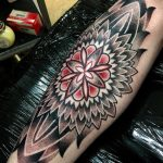 Dotwork Mandala Tattoo on Shin