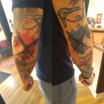 Elbow Tattoos Crosses Trash Polka by broadwaytattoollc